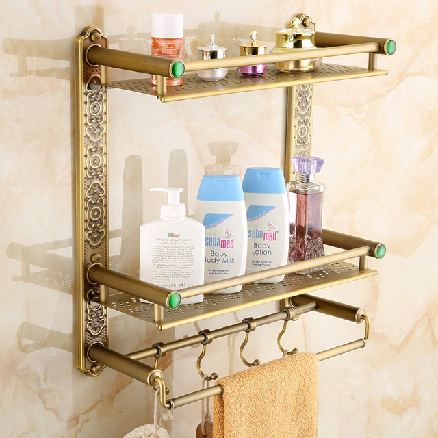 New Arrival Wall Mounted Antique Brass Bathroom Shelf with towel ...