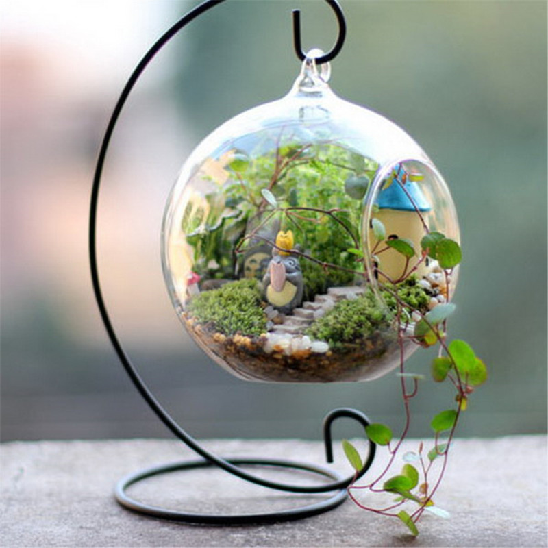 2019 Trendy Glass Ball Lantern Cabin Micro Landscape Hanging Stand Romantic Iron Wedding Candle Holder Candlestick in Candle Holders from Home Garden