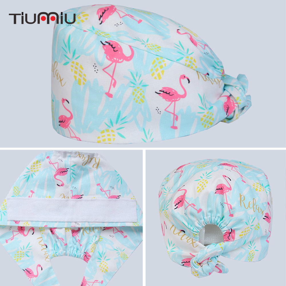 Medical Work Hats Caps Cotton Flamingo Surgical Scrub Caps Hospital Dental Clinic Beauty Salon Veterinary Medical Hats Unisex