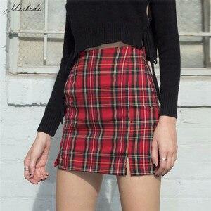Image 5 - Macheda נשים מקרית חצאית משובץ Slim גבוהה מותן רוכסן ירך חבילת אופנה גבירותיי מיני עיפרון חצאית 2019 אביב חדש הגעה