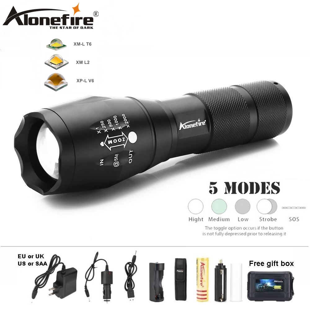 AloneFire E17 lampe de poche led lanterne XML T6 Etanche Zoom UltraBright Lampe torche tactique linterna 18650 Batterie rechargeable