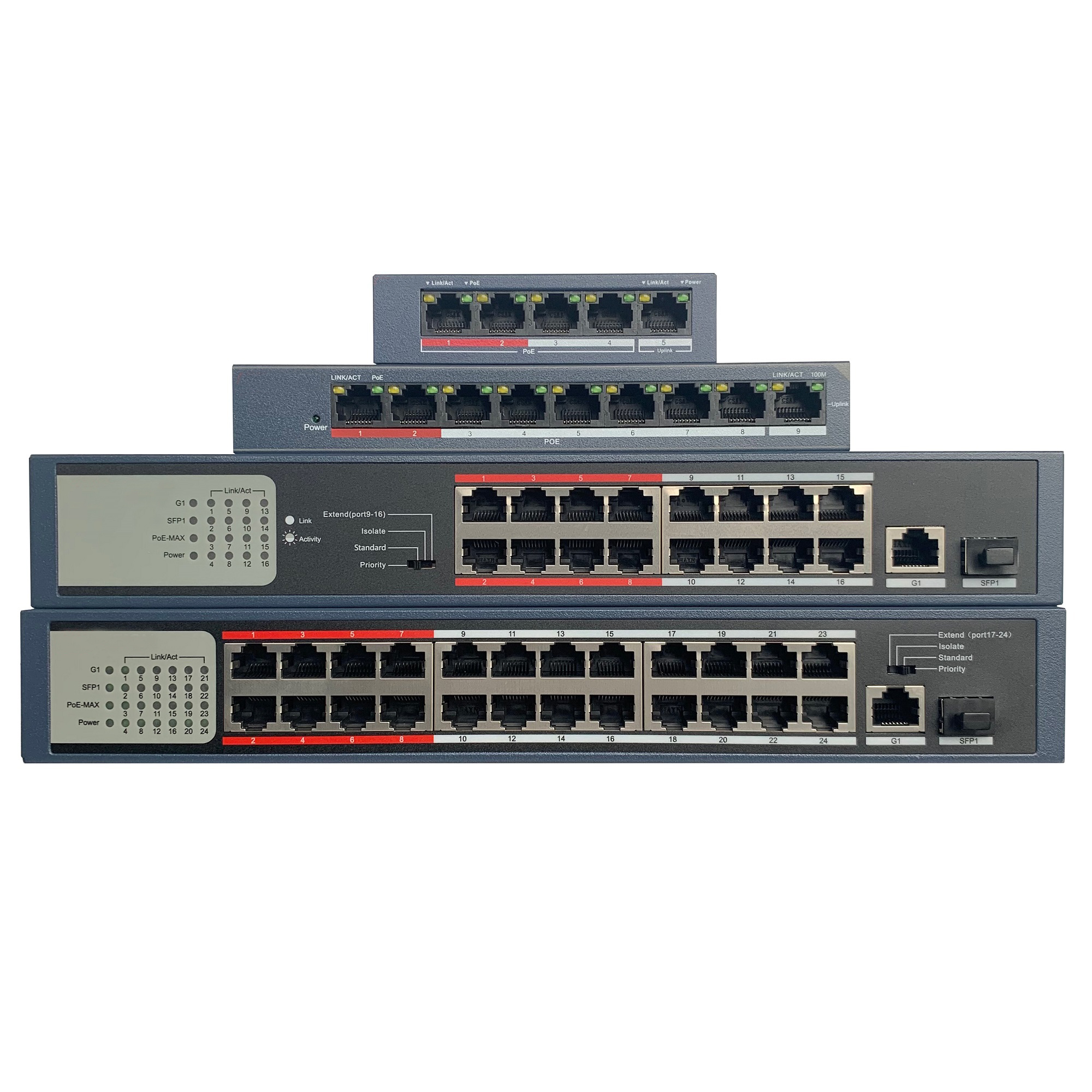 HIK With Logo 4CH 8CH 16CH 24CH PoE LAN Network Switch, DS-3E0105P-E/M  DS-3E0109P-E/M  DS-3E0318P-E/M  DS-3E0326P-E/M Economic