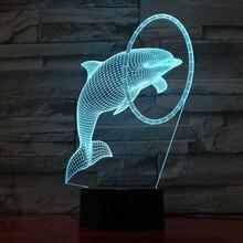 Cute Animal Dolphin Led Night Light Lampara 3D Illusion Home Decorative Lamp Child Kids Nightlight Gift Table