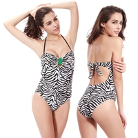 Hot Sales Vintage Zebra Print Buckled Center Swimwear 2017 Push Up One Piece Bathing Suit for Women Dropshipping