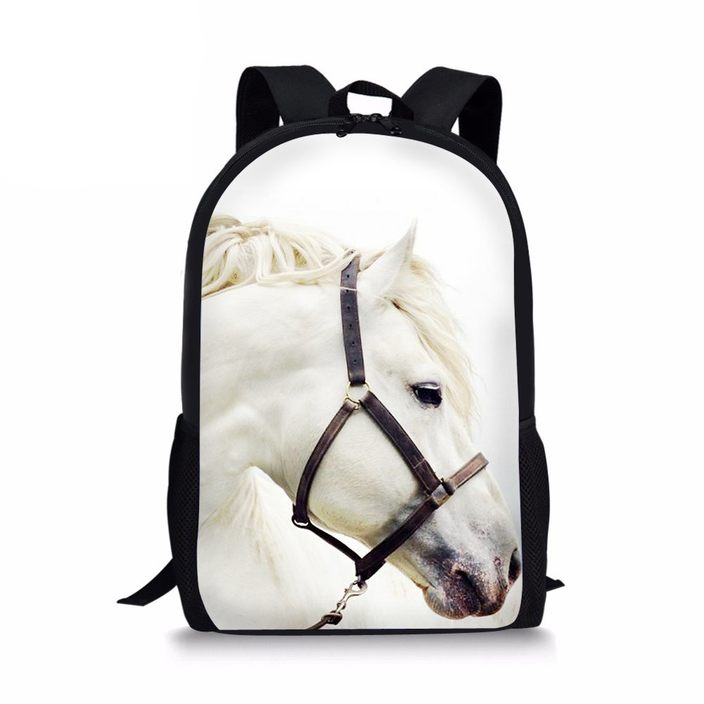 Us 18 56 36 Off White Horse School Bags For Ager Boys S Satchel Kids Book Bag Mochila Infantil 2018 Hot New Children Student In