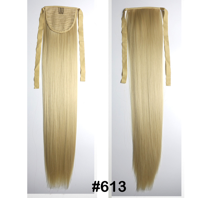 """Free Shipping 24""""(60cm) 90g Women straight Ponytail Long Synthetic Hair Clip In On Hair Extensions #613"""