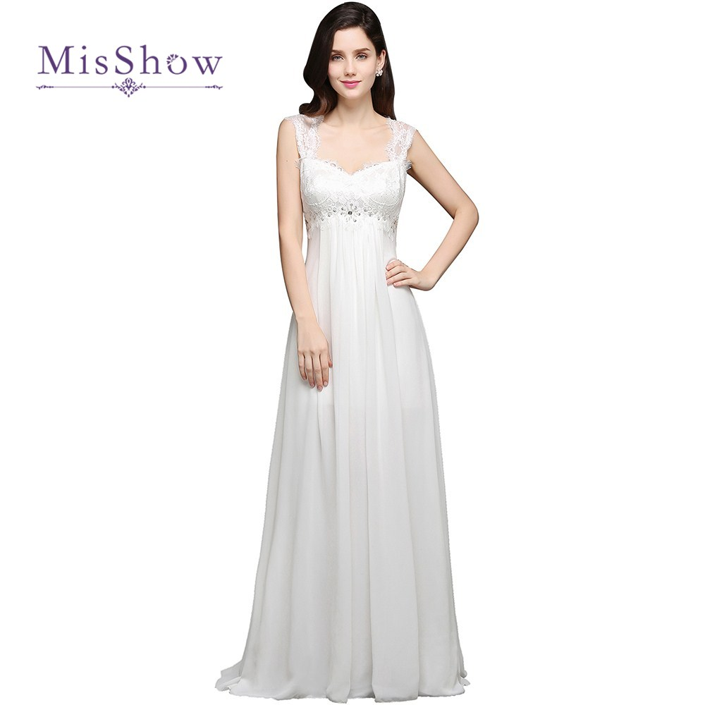 Misshow new arrival simple lace beach boho wedding dresses for Short white wedding dresses under 100