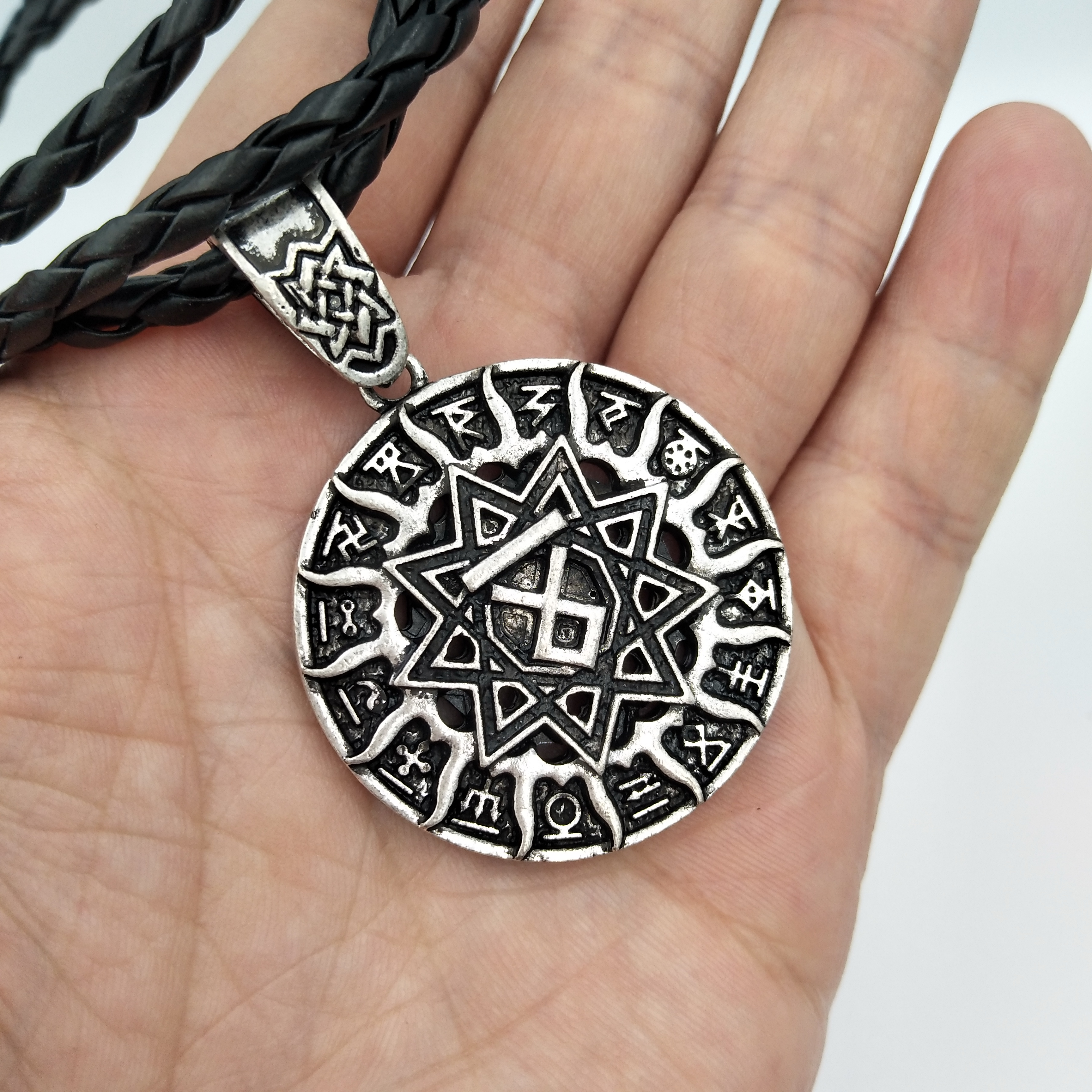 Stainless Steel Pendant Slavonic Axe with Black Suns Rune Odin Thor Necklace