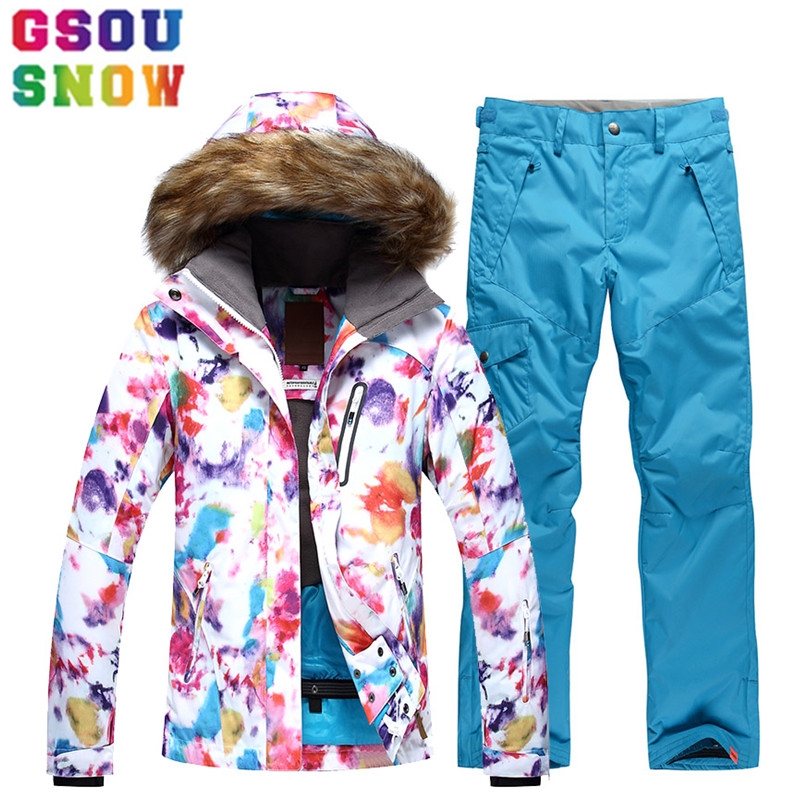 GSOU SNOW Brand Ski Suit Women Ski Jacket Pants Waterproof Snowboard Sets Winter Outdoor Cheap Skiing Suit 2017 Sport Clothing