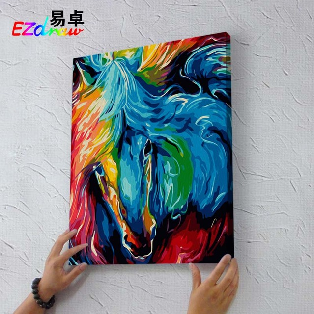 Draw Painting By Numbers colorful horse face 9010 DIY Oil Painting ...