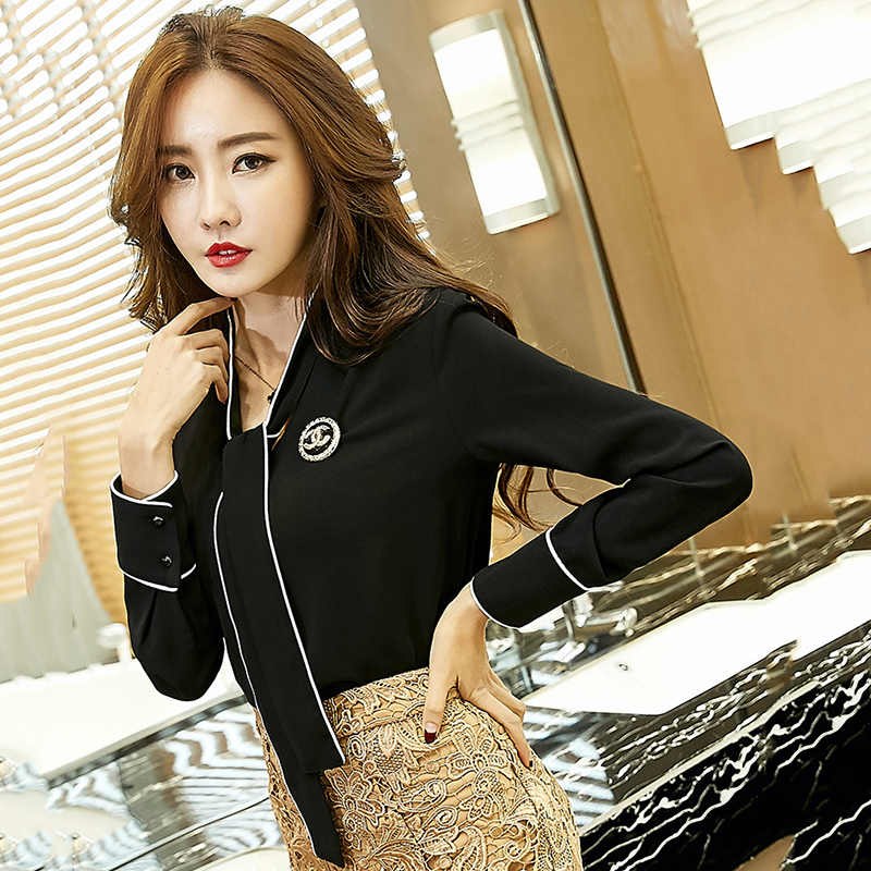 Spring chiffon pullover women blusa high quality V neck long sleeve OL woman blouse fashion pure