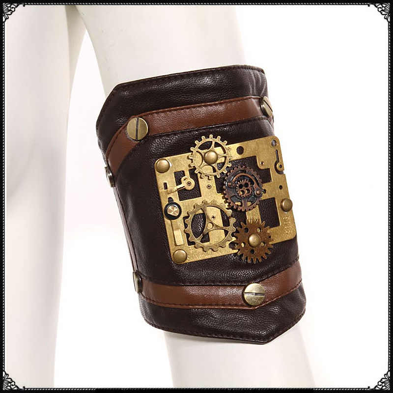 Steampunk Industrial Revolution Copper Gearwheel Arm Sleeve Cosplay Armband Arm Belt Halloween Punk Style Accessories