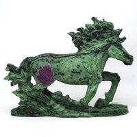 Фигурка лошади натуральный Драгоценный Рубин цоизит Кристалл вырезать статуя ремесла Кристалл Исцеления украшение домашний декор 8,5