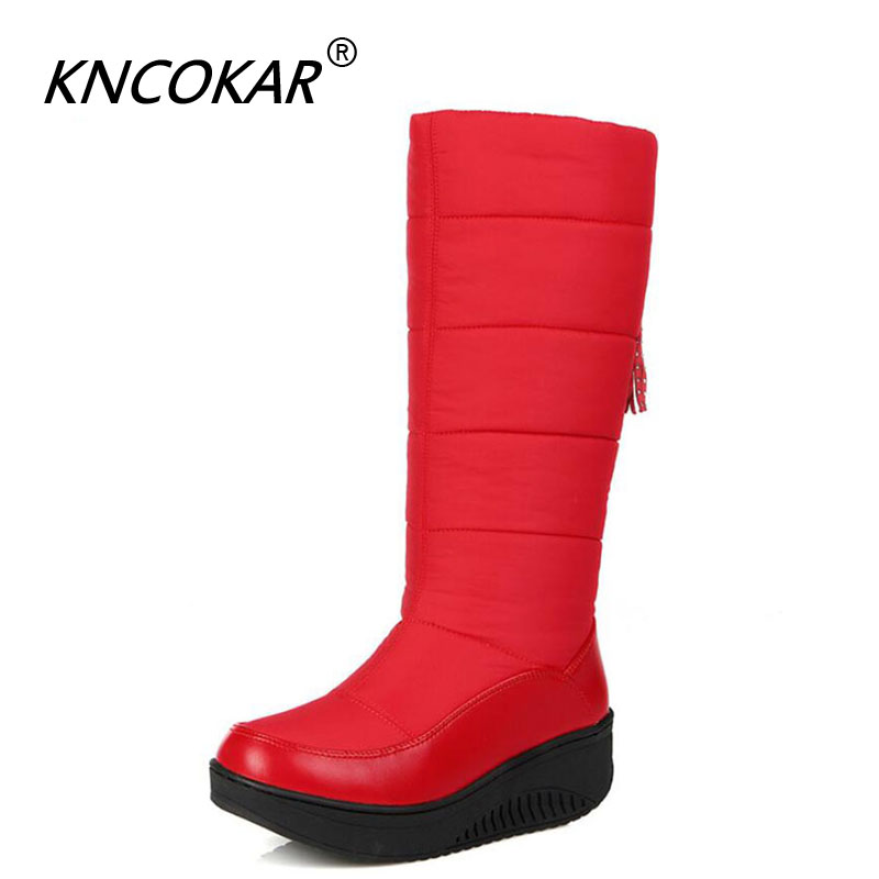 Winter Warm Waterproof Down Padded Snowshoe Women's Middle Boots Thickened Wool Student Cotton Shoes With Thick Soles x1075