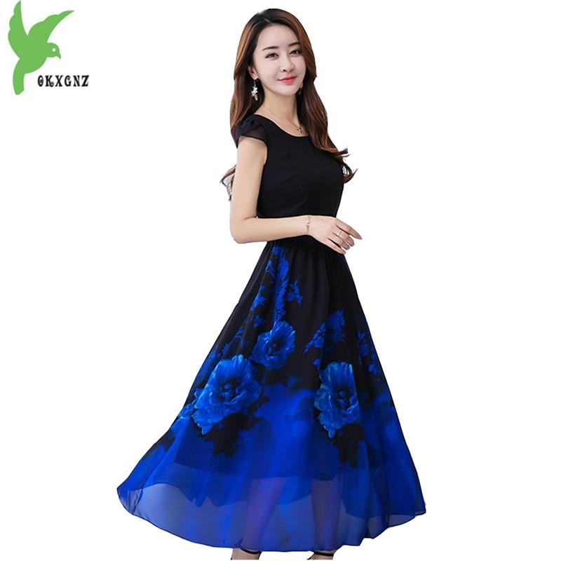 2018 Boutique imprimer robe en mousseline de soie femmes été grande balançoire robe à manches courtes Slim bohème robe grande taille Slim robe OKXGNZ 1465