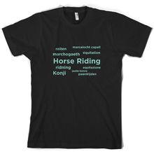цена на Horse Riding Languages - Mens T-Shirt - Rider - Ride - Showjumping - 10 Colours Print T Shirt Mens Short Sleeve Hot Black Style