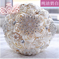2017 Wedding Bouquet Stunning Crystal Beaded Artificial Wedding Bouquets Wedding Accessories Rose Flowers Buque De Noiva