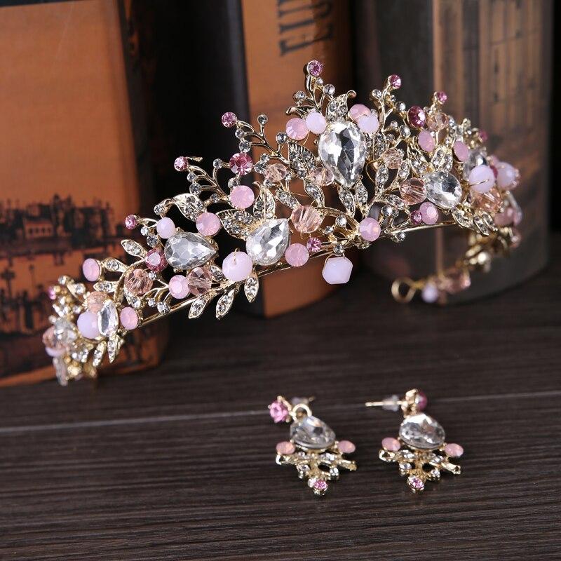 Alloy Handmade Beaded Pink Crystal Tiara Gold Wedding Crown Baroque Rhinestone Headpiece Bride Hair Accessories Earrings