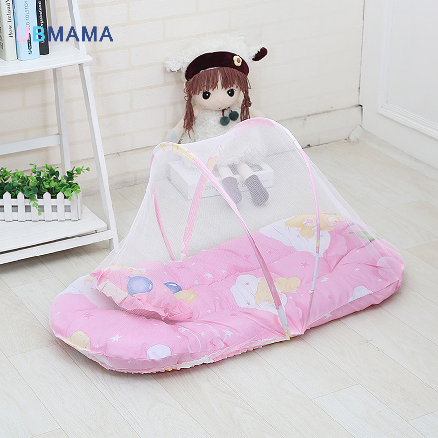 With netting folding baby bed lace cotton material net yarn boy girl baby bed super baby crib