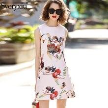 Svoryxiu Fashion Designer Autumn Winter Sleeveless Dress Women s Crystal  Diamonds Crown Angel Print Party Dress Vestidos c74570365041