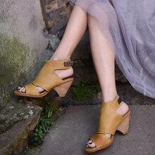 Retro Thick Heel Handmade Sandal