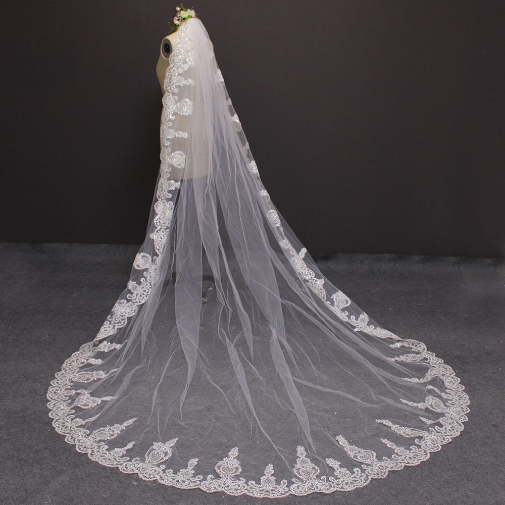 2019 One Layer Lace Edge 3 Meters Bling Sequins Cathedral Veil Dasma - Aksesorë dasme - Foto 6