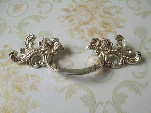 3  Shabby Chic Dresser Pull Drawer Pulls Door Handles Antique Silver French Vintage Furniture Cabinet & 3