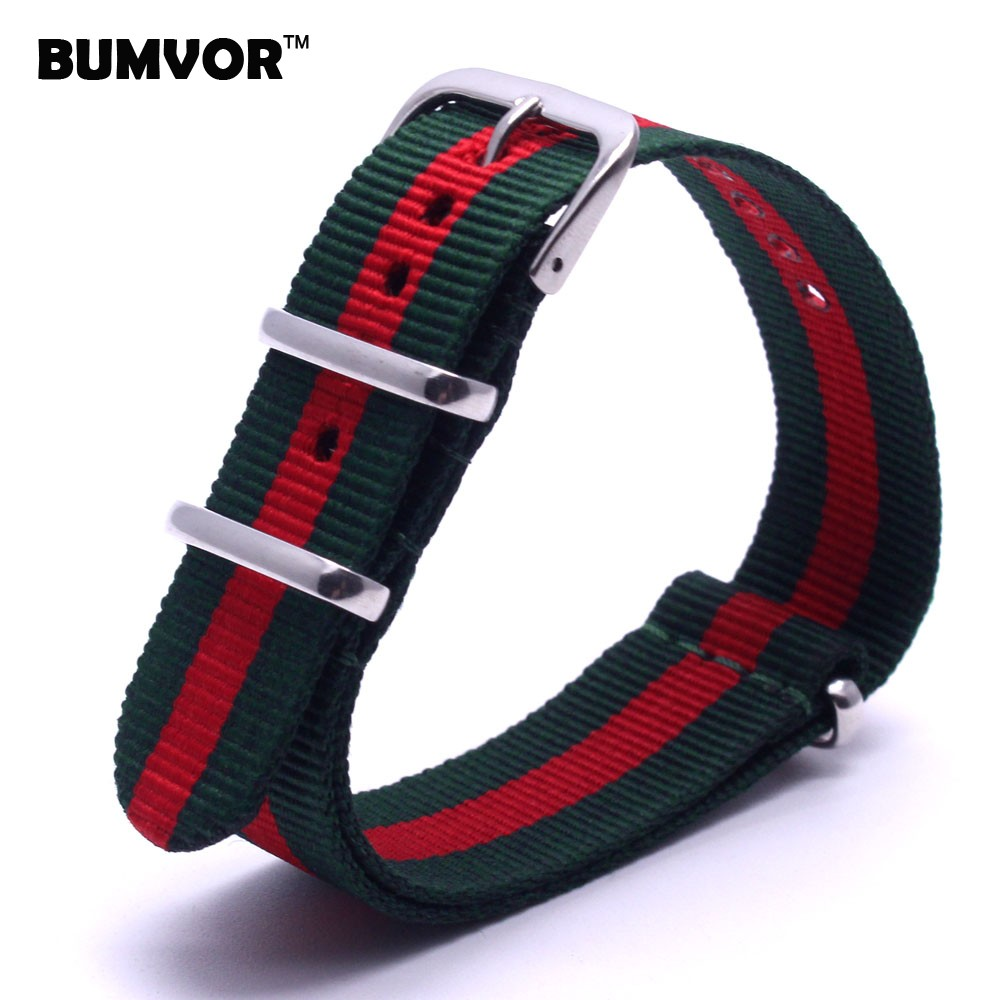 BUMVOR New 2018 Watch bracelet MultiColor Green Red Army Military nato fabric Woven Nylon watchbands Strap Band Buckle belt 22mm