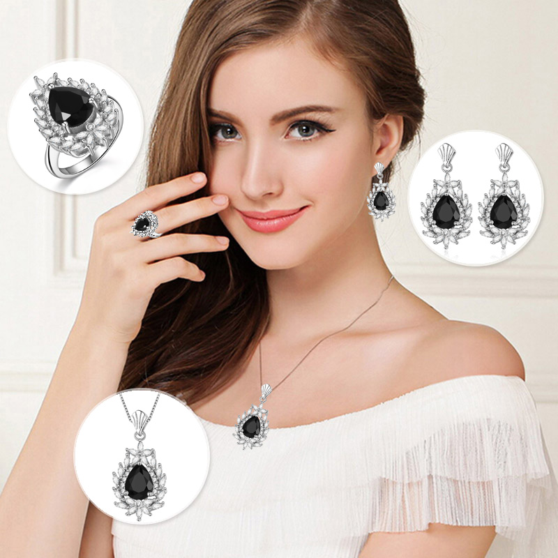 HONGYE Bohemia Elegant Water-drop Jewelry 925 Sterling Silver Colorful CZ Crystal Flower Necklace&Earring&Ring Set for Women