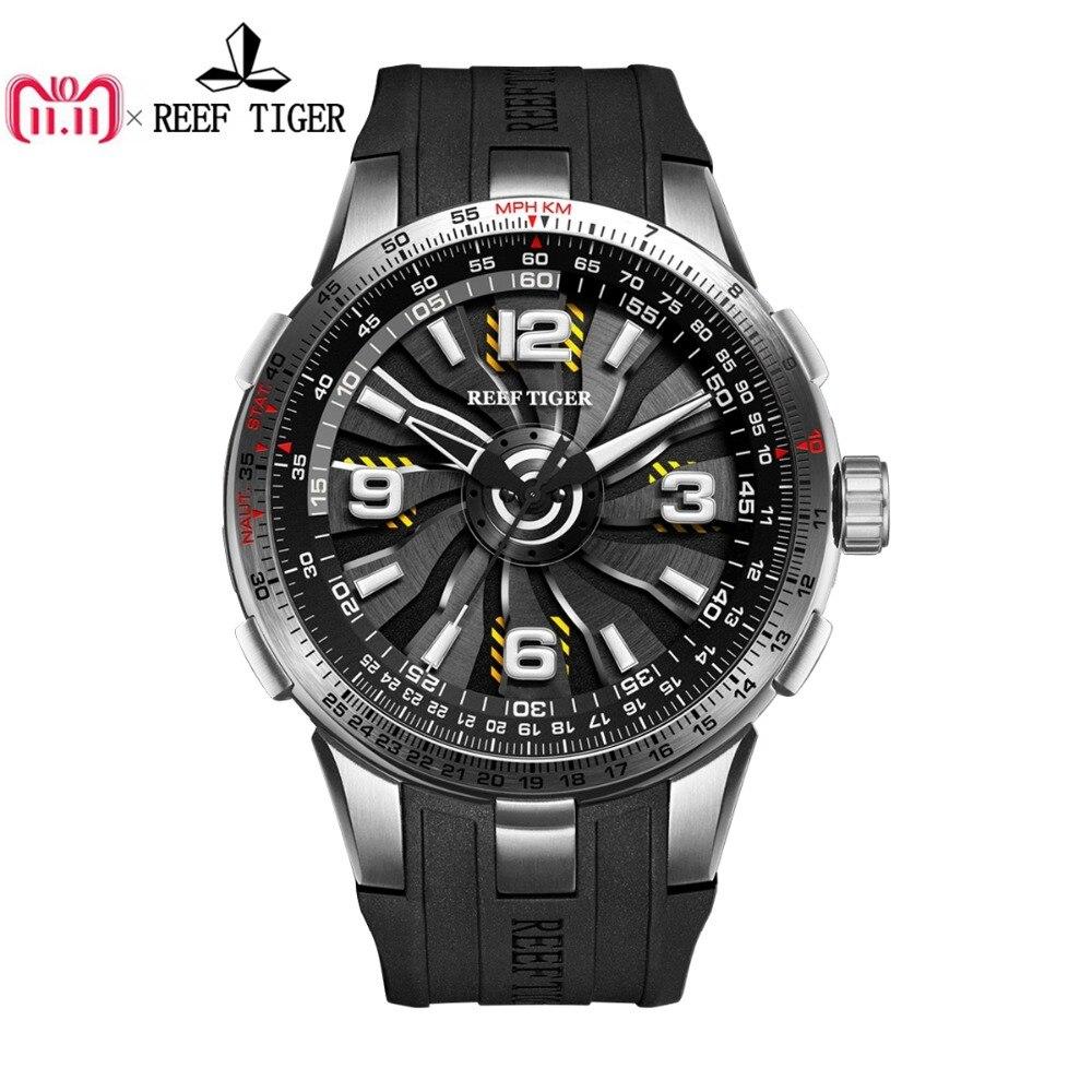 Новый Риф Тигр/RT военные часы для Для мужчин Сталь автоматические часы каучуковый ремешок Кружение циферблат спортивные часы RGA3059
