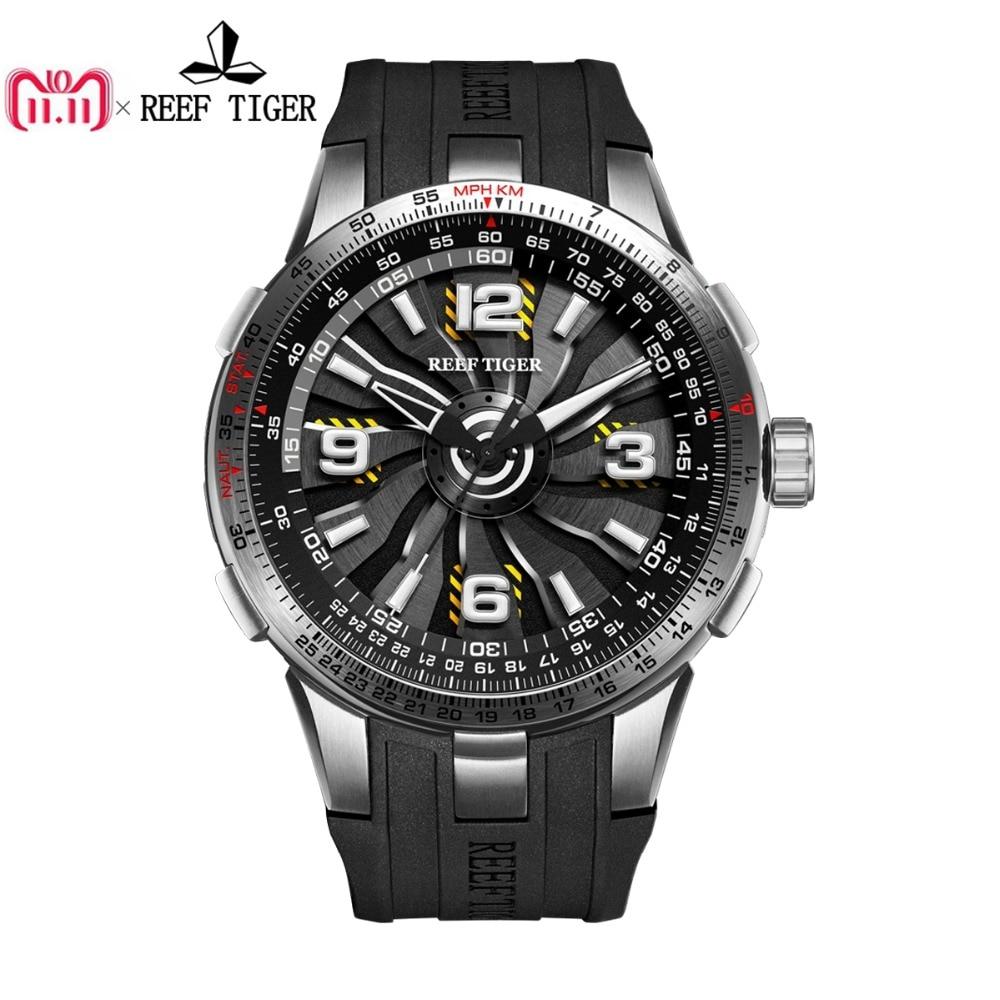 Nuevo arrecife Tigre/RT militar relojes para hombres de acero automática relojes correa de caucho girando Dial reloj deportivo RGA3059