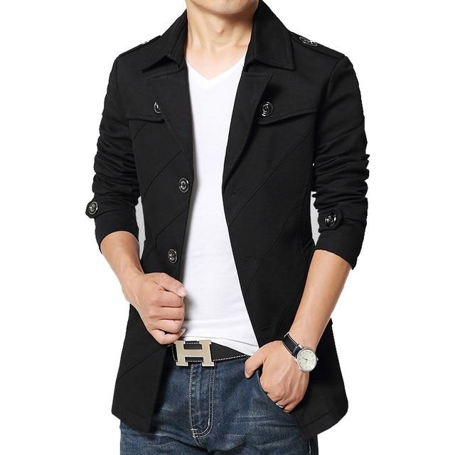 TOP quality fashion british style men autumn coat cotton blends peas coat overcoat outwear M 3XL 4XL