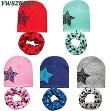 Осенне-зимние детские шапочки, шапка, шарф, хлопковая детская шапка, принт со звездой, для мальчиков и девочек, для детей ясельного возраста, шапка, вязаная крючком, детская шапка, шарф