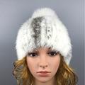 2016 Зимние Шапочки Hat для Женщин Симпатичные Новинка Твердые норка Мех Горячей Продажи Свободный Размер Повседневная Мода женские Меховые шляпа
