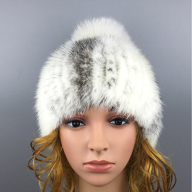 2016 Winter Beanies Fur Hat for Women Cute Novelty Solid Mink Fur Hot Sale Free Size Casual Fashion Women's Fur Hat