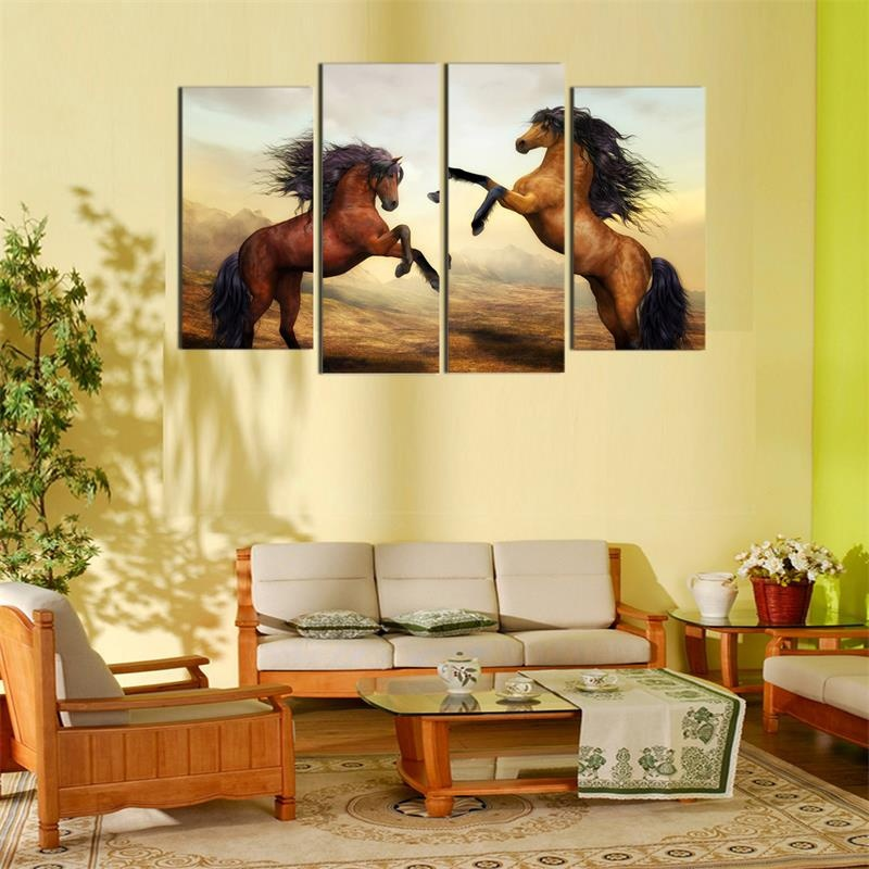4Pc Modern Wall Art Animal Painting Runs Horse Framed Canvas ...