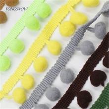 5 yard Lace Fabric Sewing Accessories Pompom Trim Pom Pom Decoration Tassel Ball Fringe Ribbon DIY Material Craft Apparel