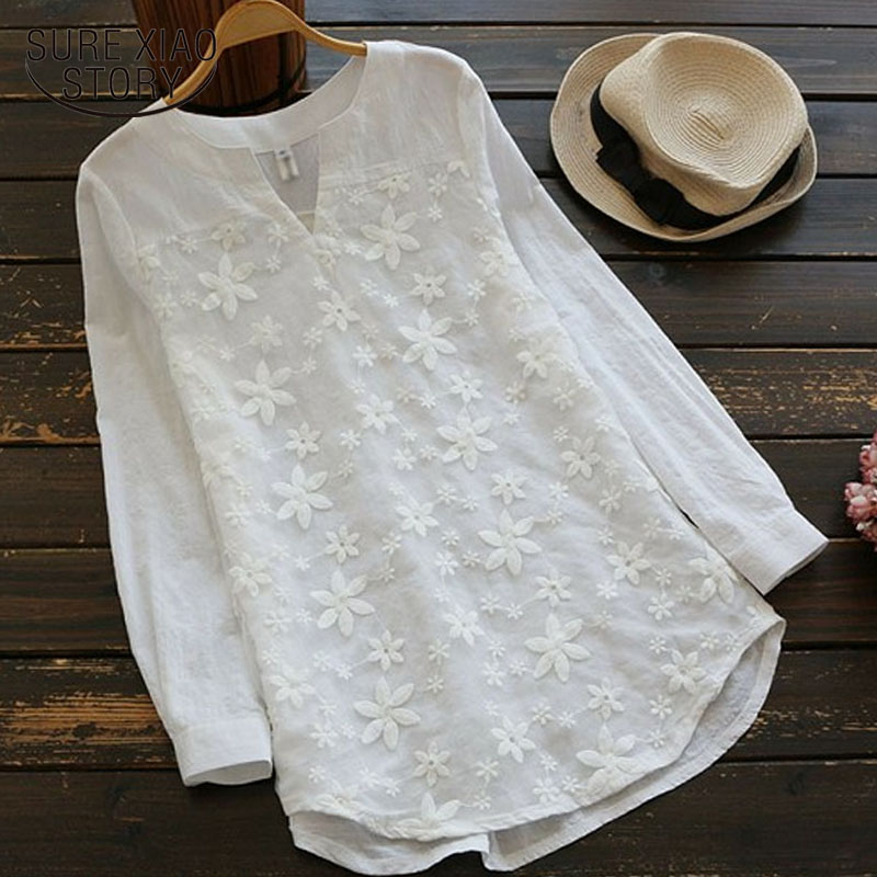Women   blouse   and tops 2019 fashion ladies tops white   blouse     shirts   Floral Stand harajuku women clothing office lady full 3725 50