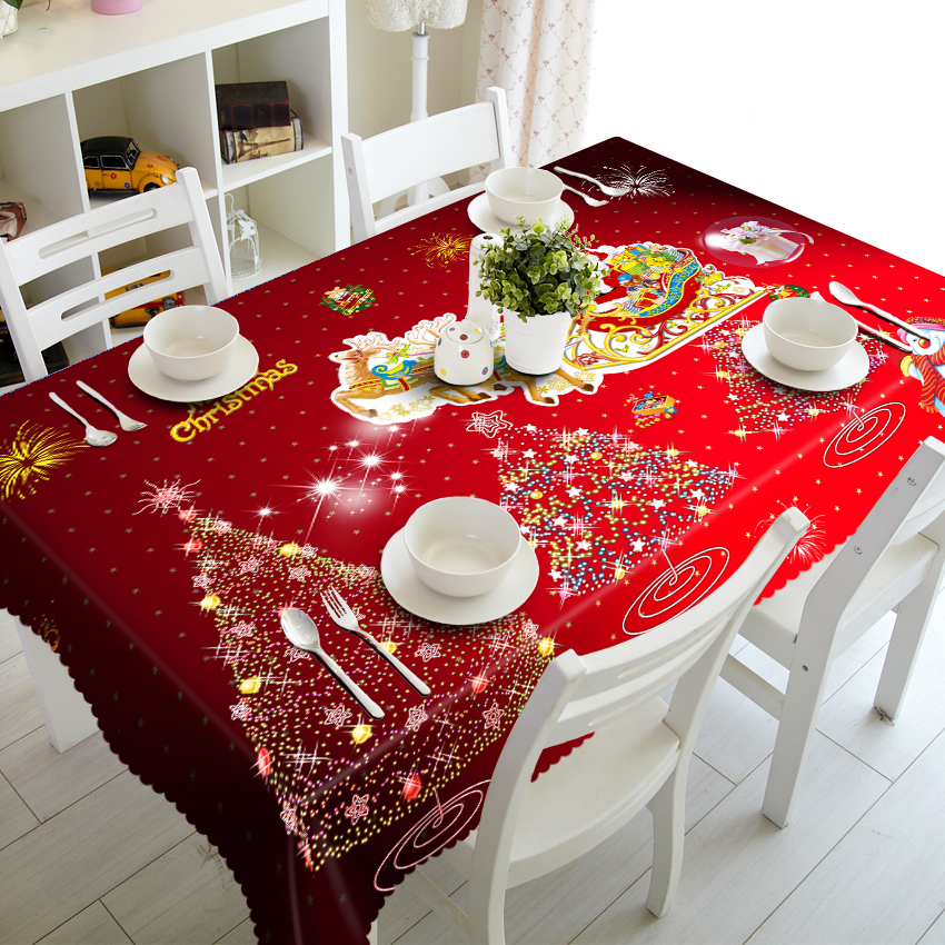 Customizable 3D Tablecloth Christmas Tree New Year Fireworks Waterproof Thicken Rectangular and Round Wedding Table Cloth