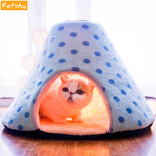 Petshy Cat Cave House Pet Nest Plush Warm Comfortable Kitten Puppy Kennel Small Dog Rest Sleeping Bed Bag Cute Cats Cushion