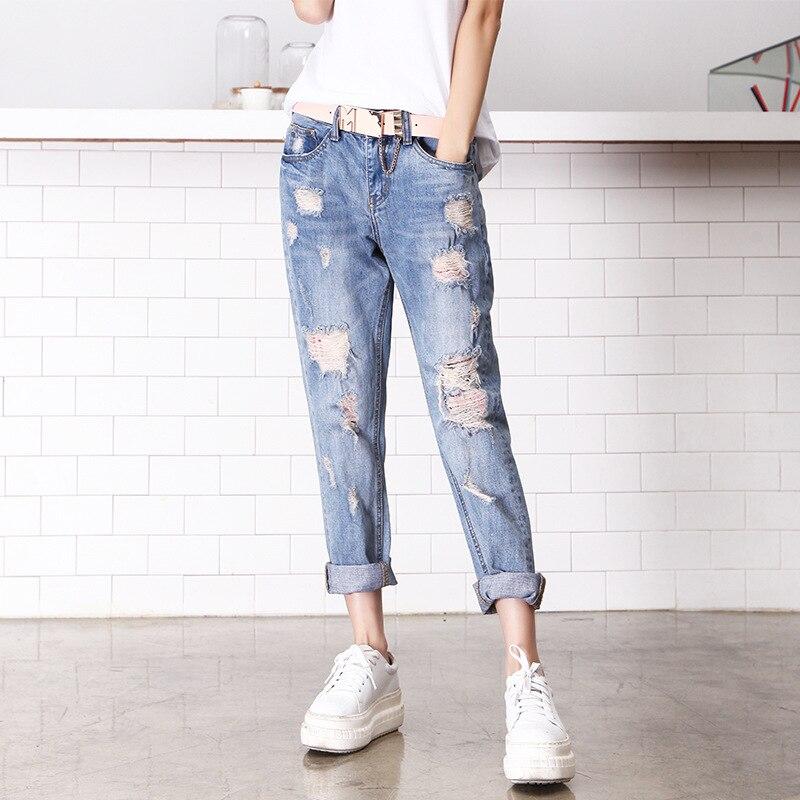 American Apparel Sale Cotton Mid Pl0aid Women Jeans 2016 New Cowboy Nine Pants Baggy Jeans Casual Fashion Taobao One Generation knowledge cotton apparel кардиган knowledge cotton apparel модель 28184321