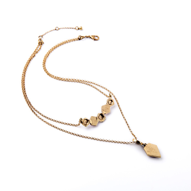 Two Layers Geometric Pendant Necklace India New Look Happy New Year Fashion Jewelry