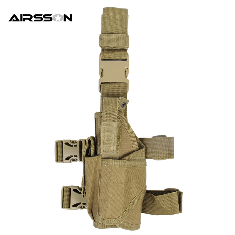 Tactical Army Drop Leg Pistol Gun Holster Police Universal Left Hand Hunting Shooting CS War Game Puttee Thigh Handguns Holder adjustable quick release plastic tactical puttee thigh leg pistol holster pouch for usp45 black page 3