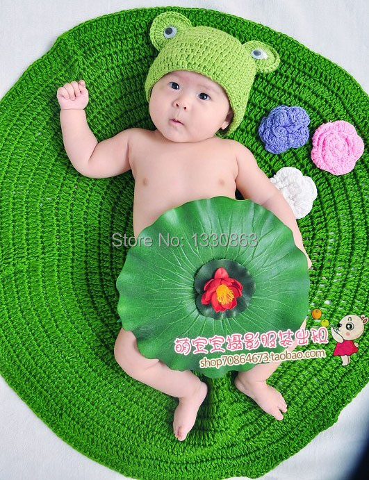 Soft New newbosrn Baby Costume Photography Prop Frog Prince Infant Girl and Boy Knit Crochet Free shipping