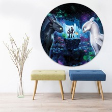 Animation Movie Painting 1 Piece Circular Style How to Train Your Dragon 3 Picture Modern Canvas Print Type Home Decorative Wall