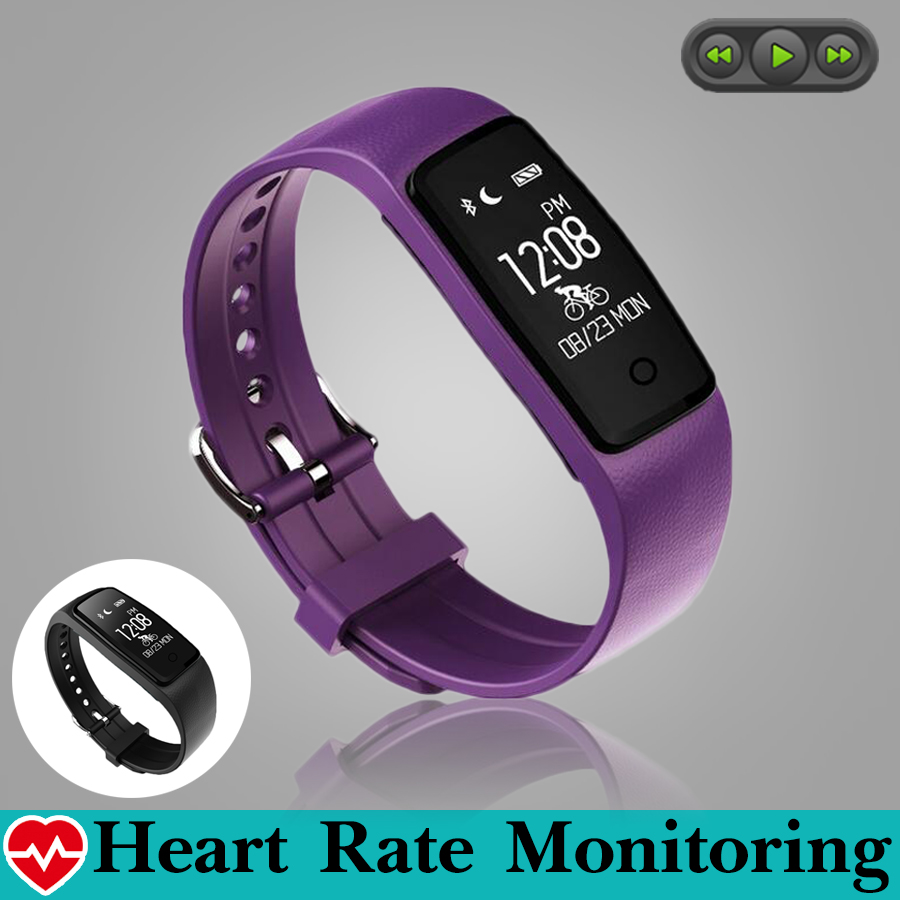 Fashion Swim Music Control Smart Wristband Band Heart Rate Monitor Pedometer Trajectory Fitness Bracelet Tracker PK