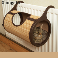 Natural Bamboo Radiator Cat Bed Home Tent Cat Tunnel Toys Hanging Wall Cat House Mat Habitat Cat Scratch Board Toys Pet Products