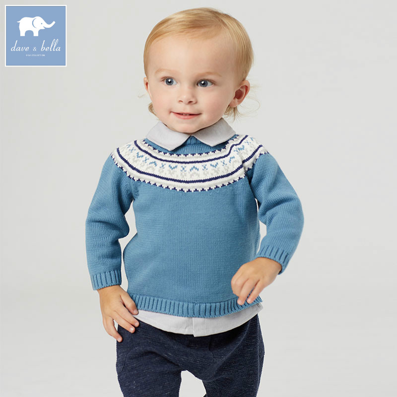 DB5899  dave bella autumn newborn baby boys  girls 100% cotton cardigan infant clothes toddler children knitted Sweater db2315 dave bella autumn winter baby boy turtleneck sweater infant clothes toddle cotton wool sweater boys plum sweaters
