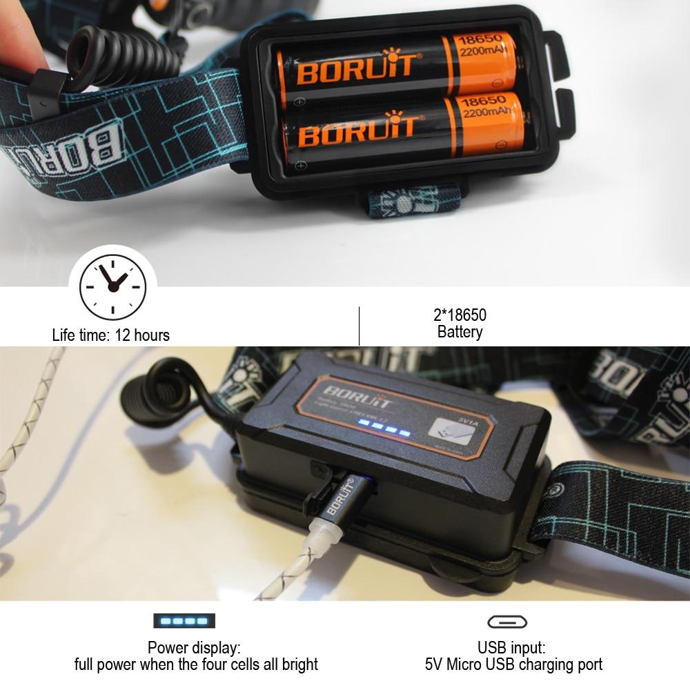 BORUIT B10 XM-L2 Reflektor LED 3-Mode 6000LM Reflektor Micro USB - Przenośne oświetlenie - Zdjęcie 4