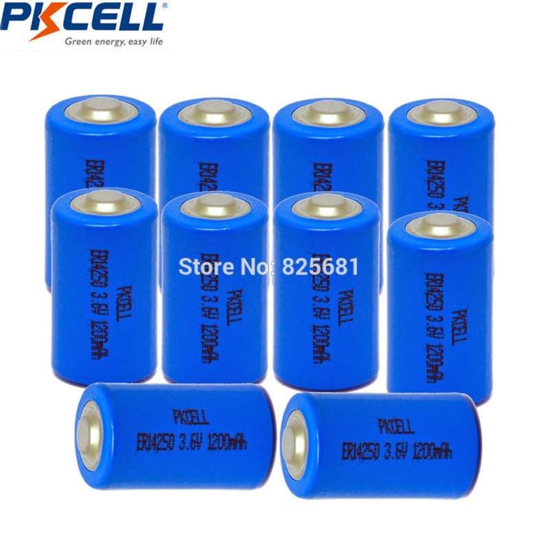 10Pcs PKCELL <font><b>1/2AA</b></font> Battery 3.6V ER14250 LiSOCl2 Batteries 14250 1200mAh For GPS Lithium Battery Replace Saft LS14250 image